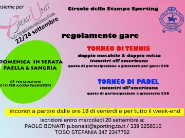 "TENNIS E PADEL INSIEME PER ""BREAST UNIT"""