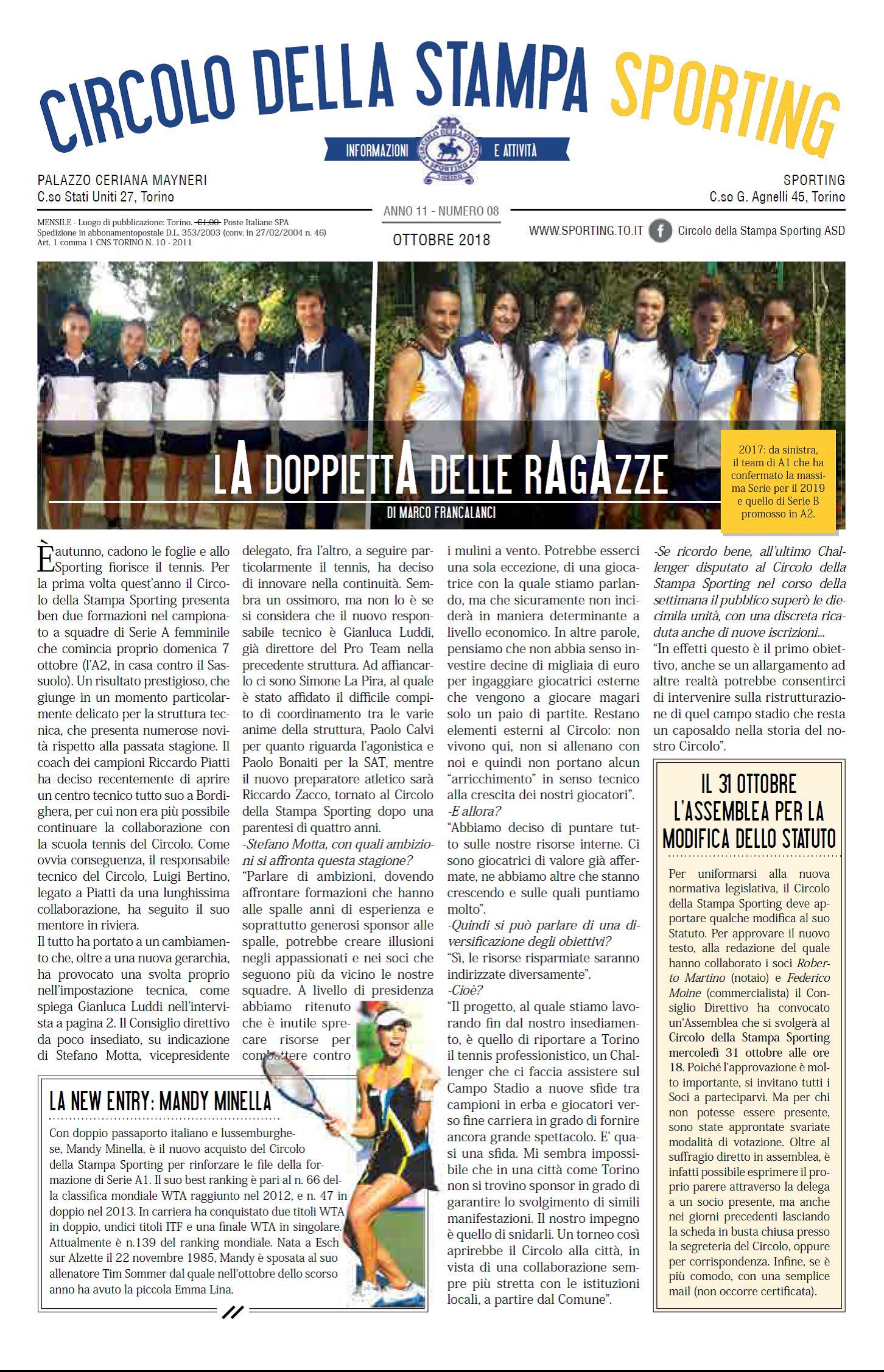 CIRCOLO DELLA STAMPA SPORTING ottobre