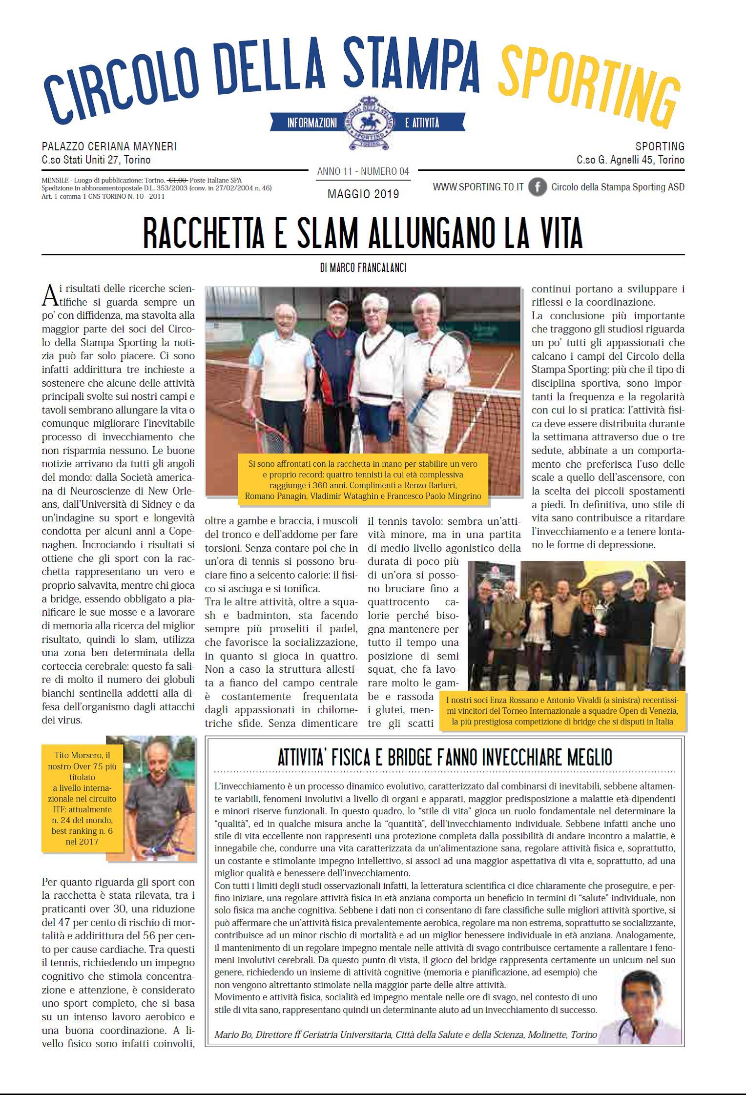 CIRCOLO DELLA STAMPA SPORTING maggio 2019
