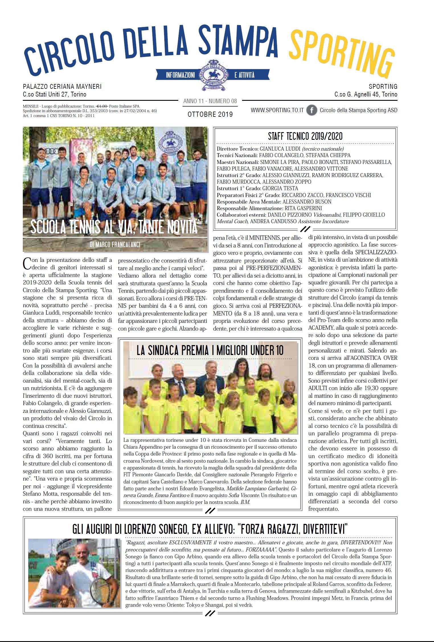 CIRCOLO DELLA STAMPA SPORTING ottobre 2019