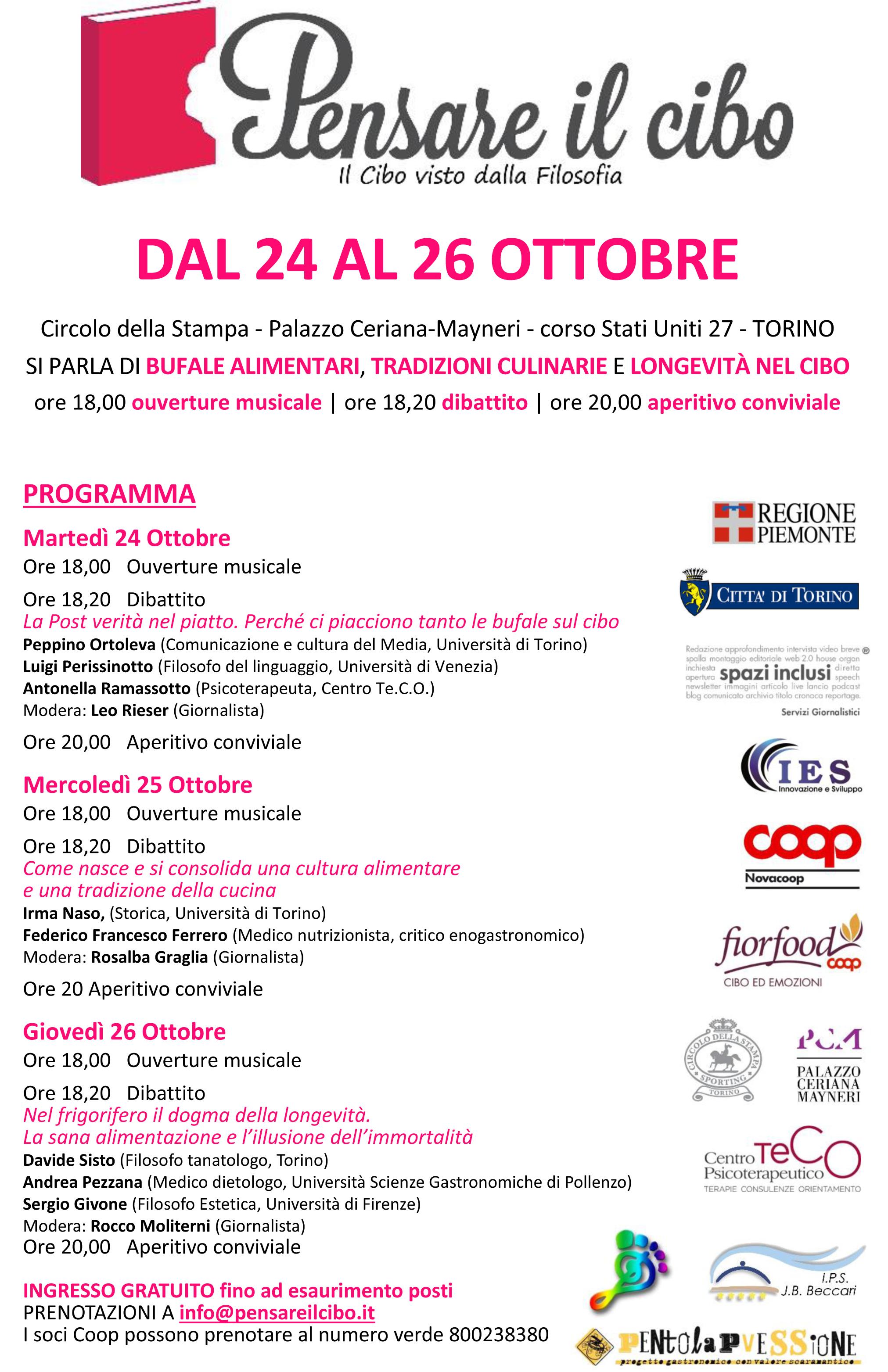 """Palazzo Ceriana Mayneri: dal 24 al 26 ottobre """"Pensare il cibo"""""""