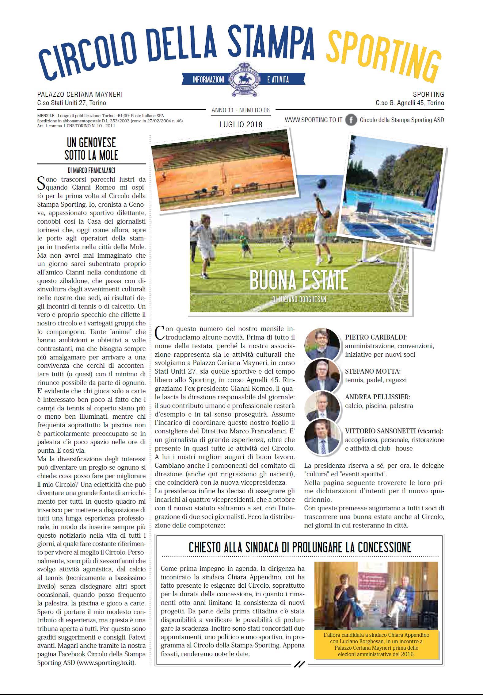 CIRCOLO DELLA STAMPA SPORTING luglio 2018