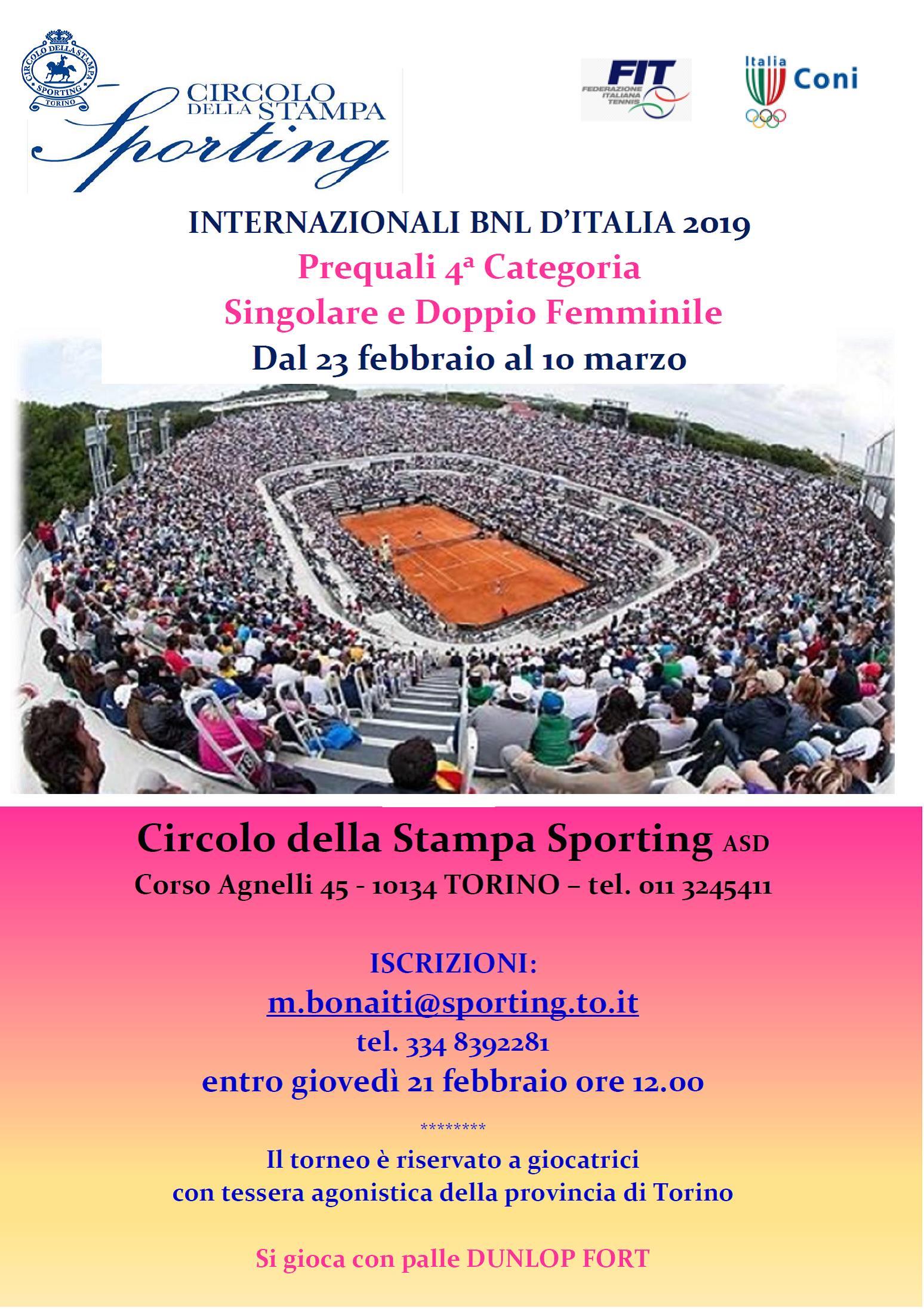 PREQUALI BNL 2019 4^ CAT. FEMMINILE TORINO