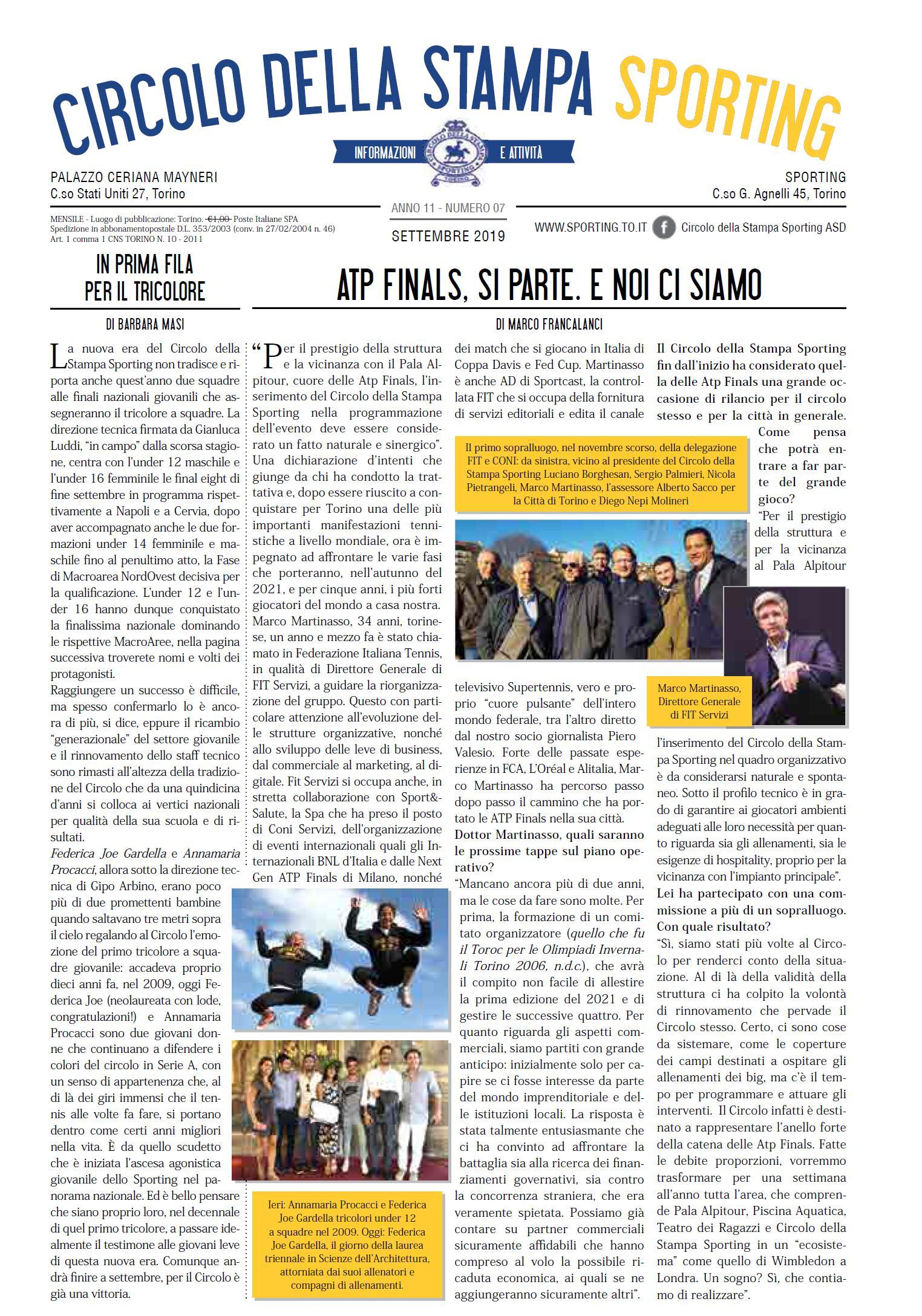 CIRCOLO DELLA STAMPA SPORTING settembre 2019